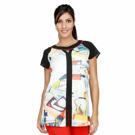 S'Quise Paris: Keyhole Abstract Art Tunic SQ_T2004_N