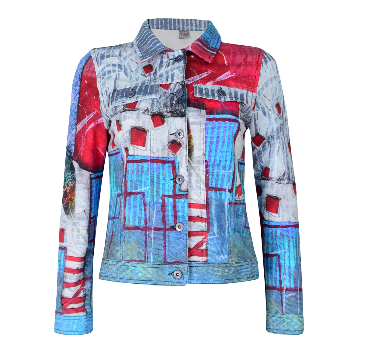 Simply Art Dolcezza: Only Love Spiritually Square Soft Denim Abstract Art Jacket Dolcezza_Simplyart_59665