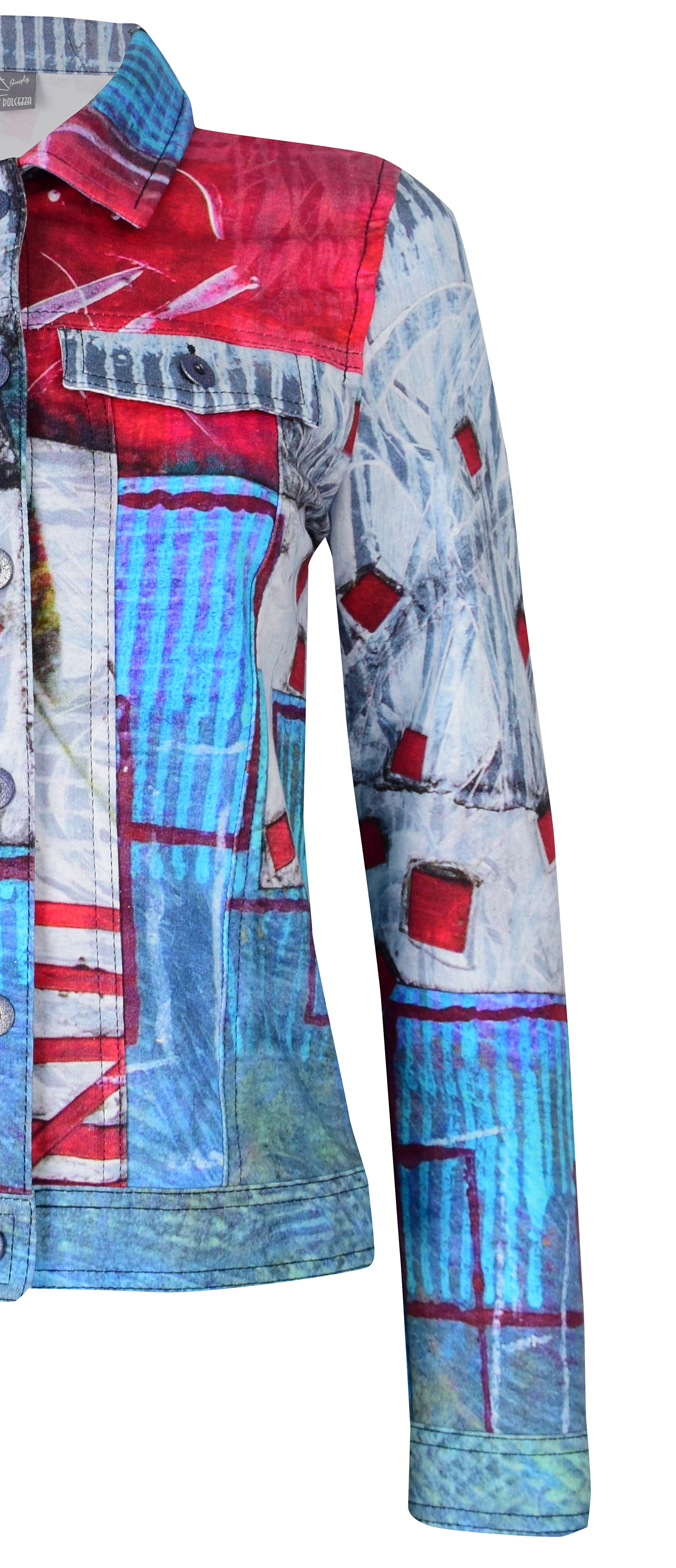 Simply Art Dolcezza: Only Love Spiritually Square Soft Denim Abstract Art Jacket