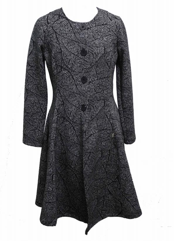 Maloka: Romantic Rainstorm Jacquard Flared Coat