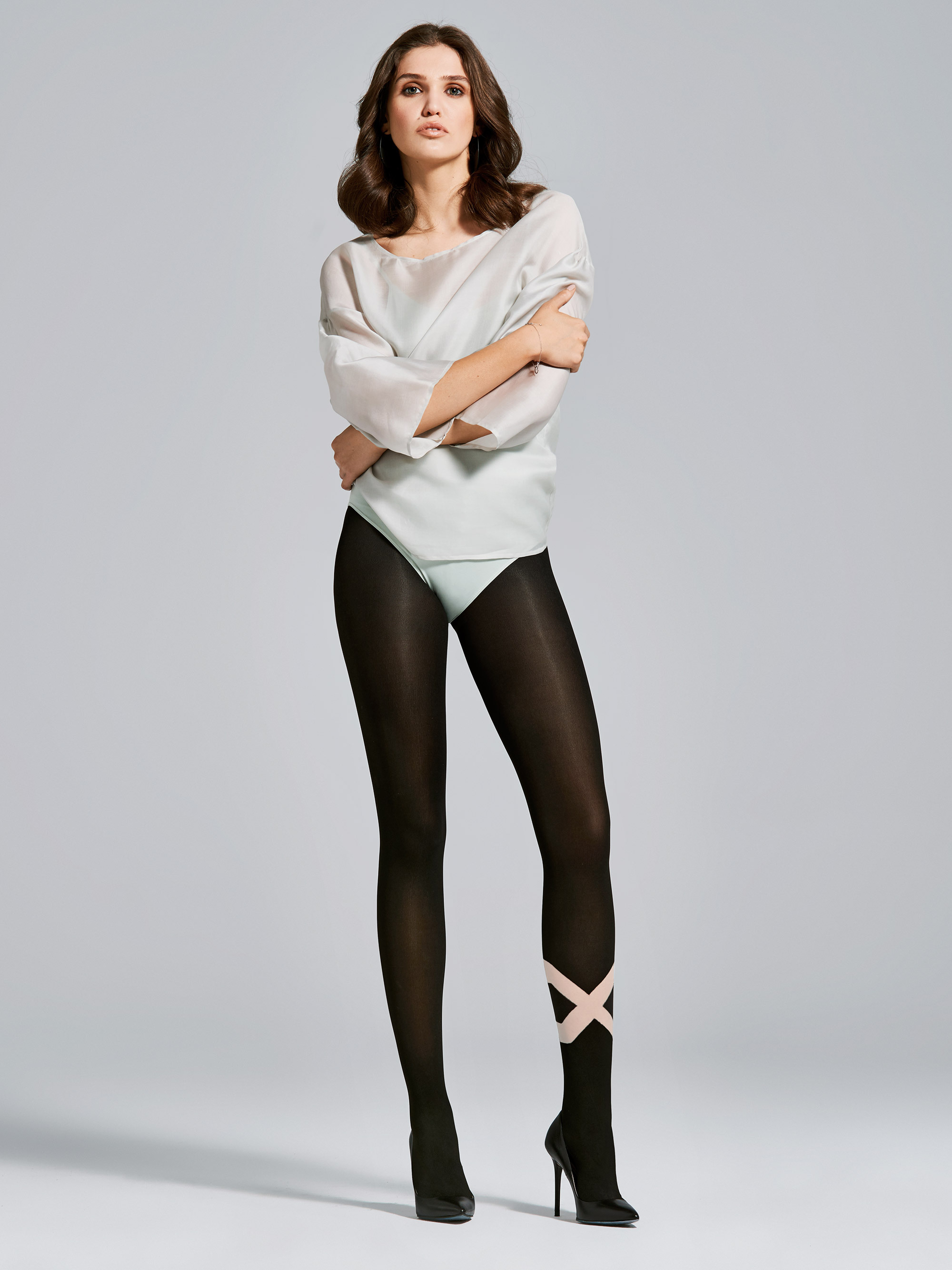 Fiore: Asymmetrical Tuxedo Opaque 3D Microfibre Tights (2 Left!)
