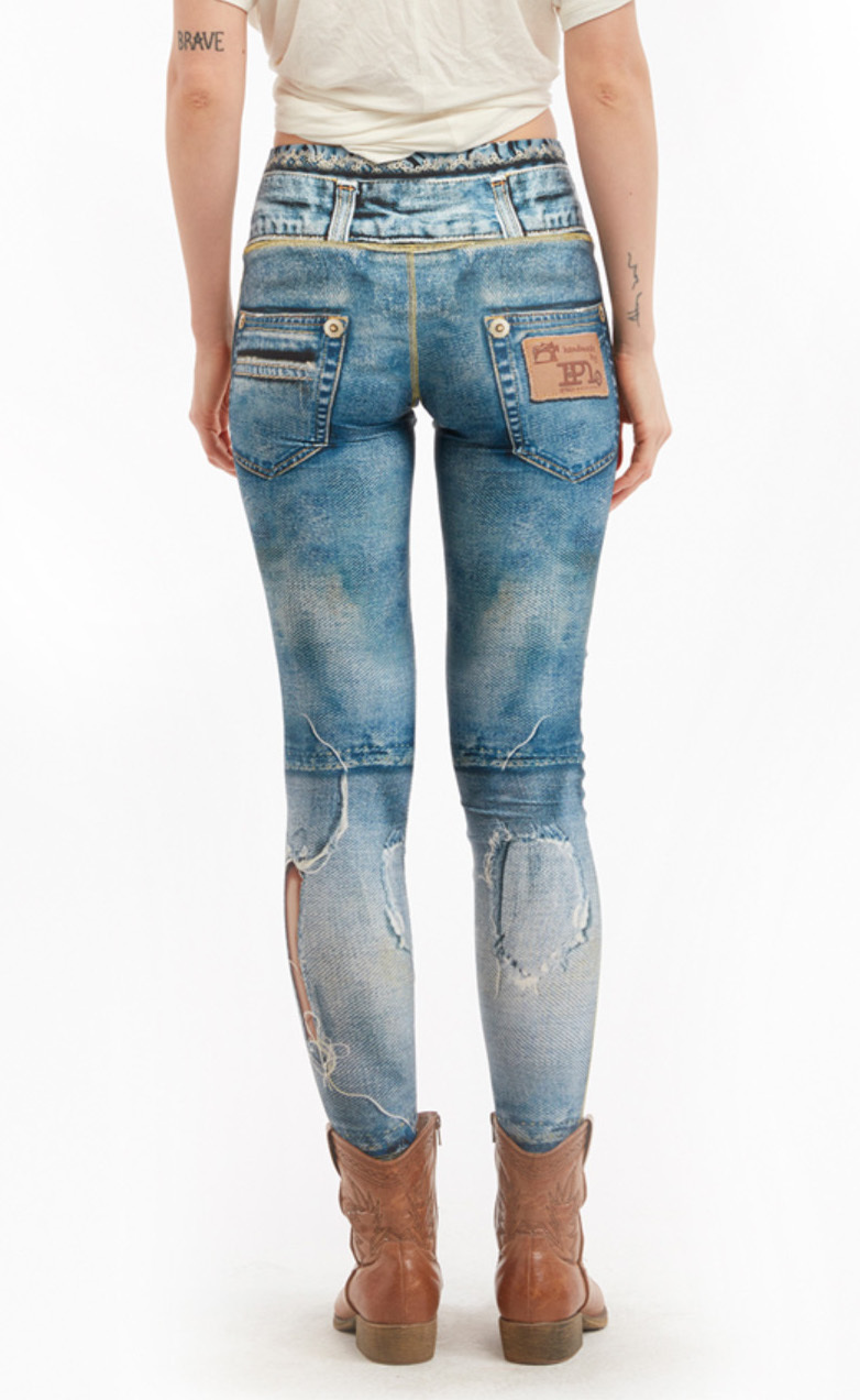 IPNG: Love Letter Ripped Jean Illusion Legging (Some Ship Immed!)