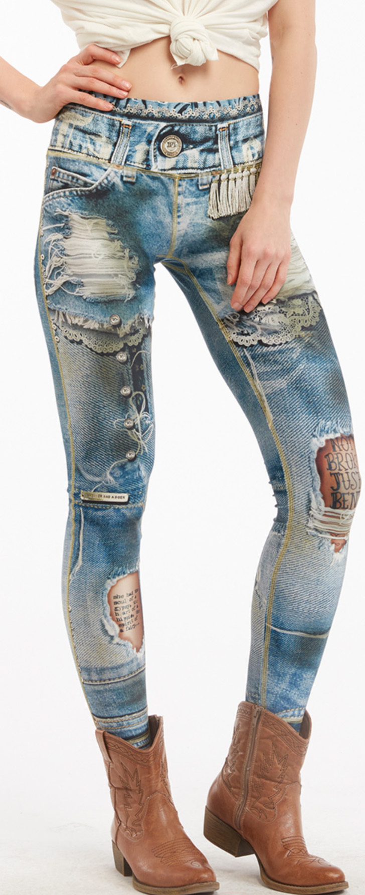 IPNG: Love Letter Ripped Jean Illusion Legging (Some Ship Immed!) IPNG_BSCL_15_Classic_Blue