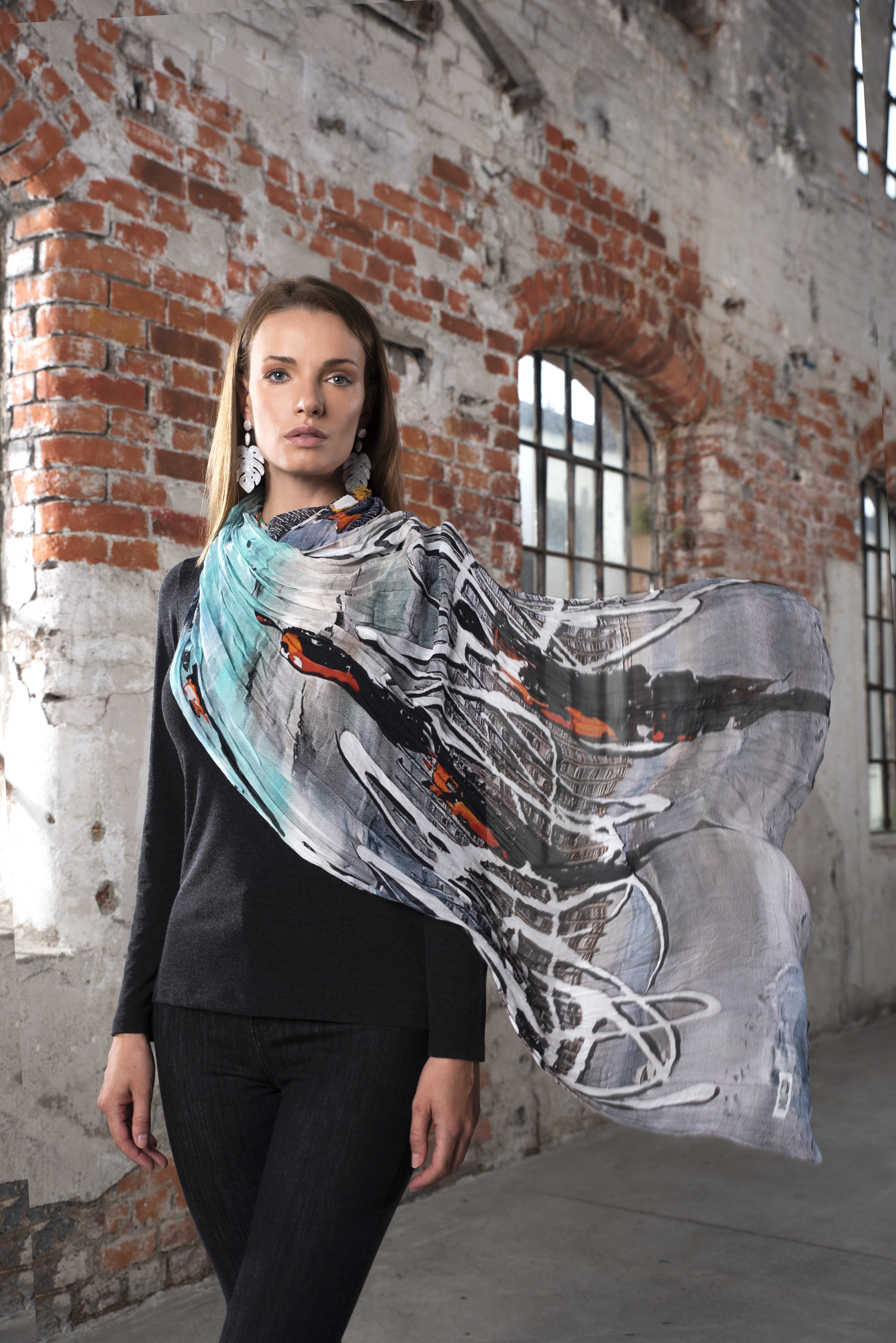 Simply Art Dolcezza: Indeed A Picture Perfect Beach Abstract Art Scarf SOLD OUT Dolcezza_SimplyArt_59907_N