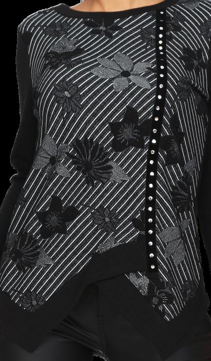 S'Quise Paris: Asymmetrical Black Petals Tunic