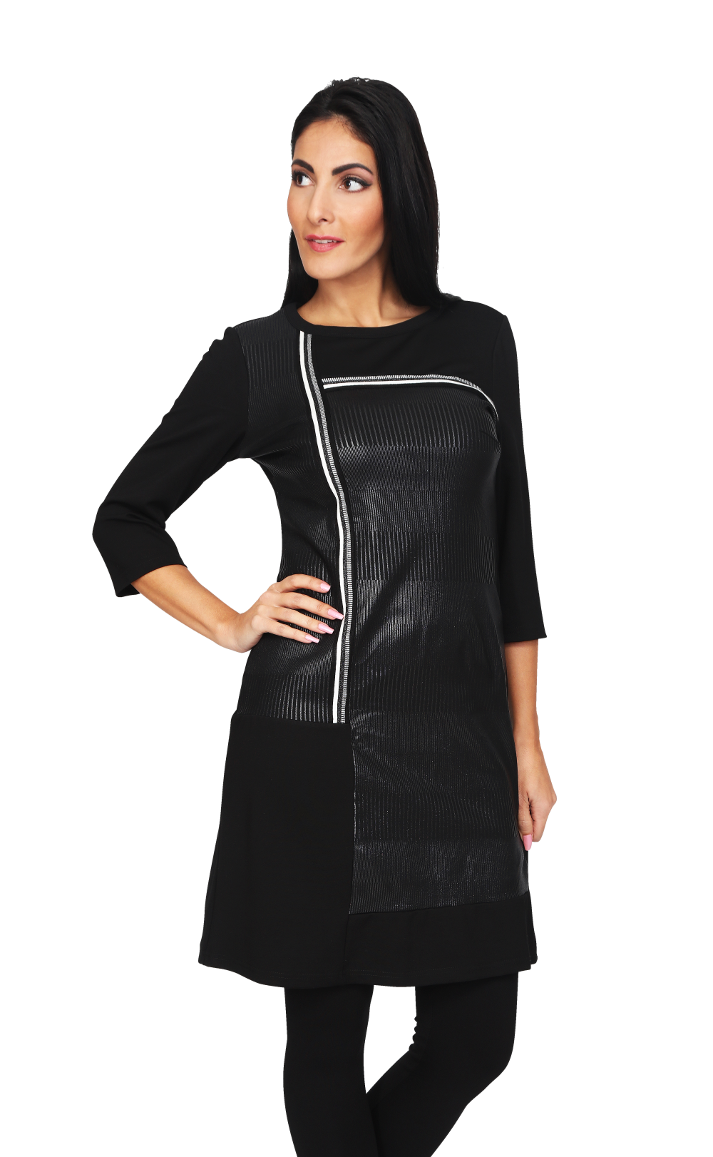 S'Quise Paris: Cropped Sleeve Faux Leather Midi Dress/Tunic SQ_2512_N