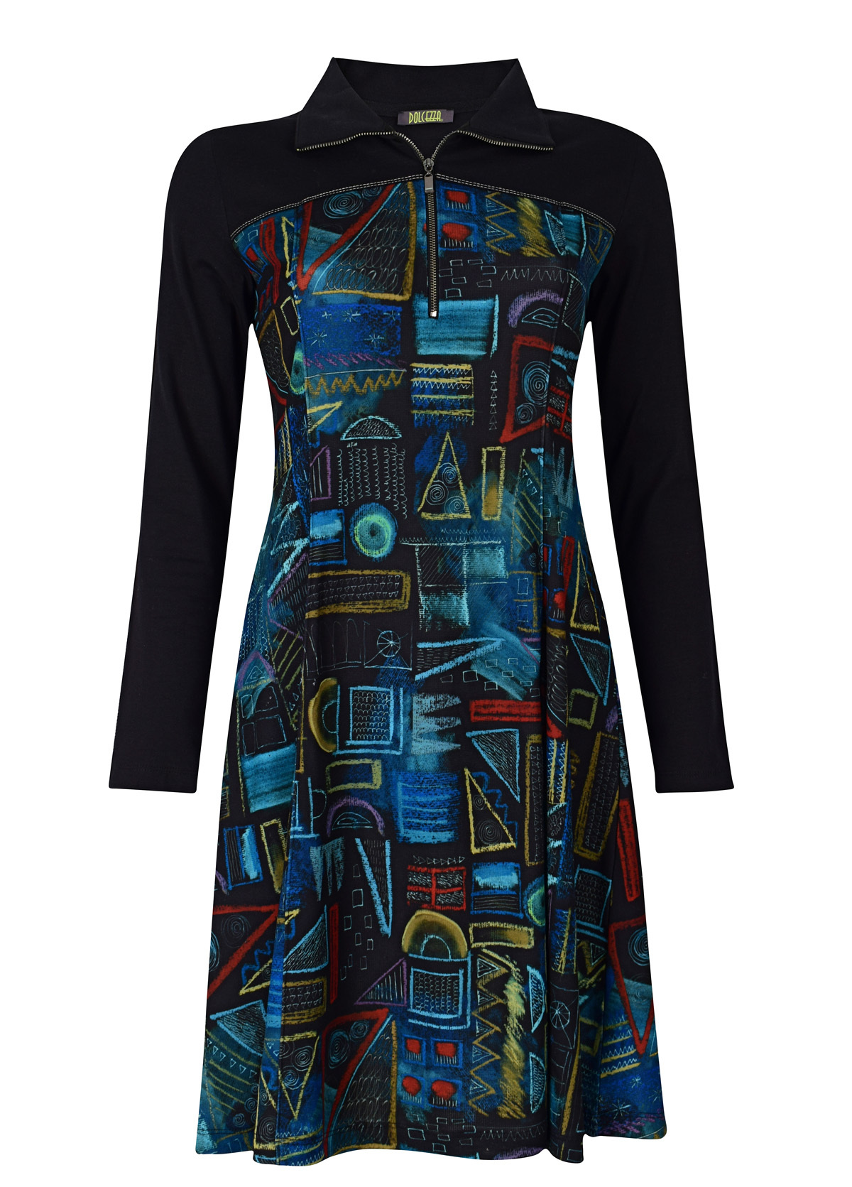 Dolcezza: Chalkboard Geometric Graffiti A-line Dress (1 Left!) Dolcezza_59193