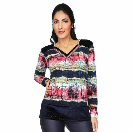 S'Quise Paris: Pink Forest Velvet Hem Sweater Top (2 Left!) SQ_2501_N