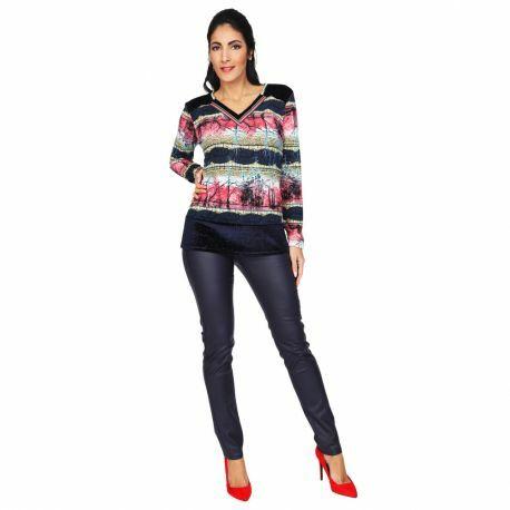 S'Quise Paris: Pink Forest Velvet Hem Sweater Top (2 Left!)