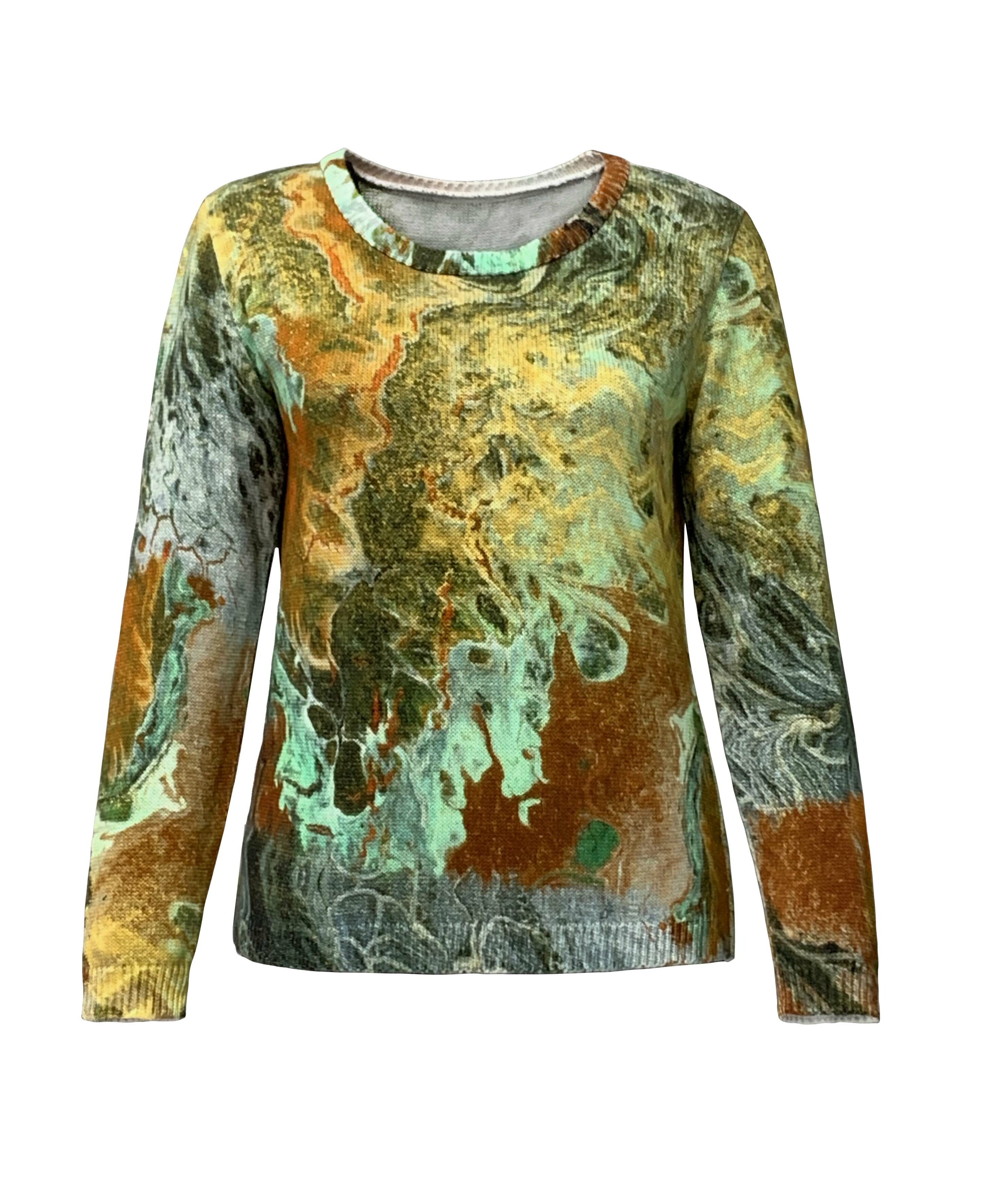 Simply Art Dolcezza: Royal Egyptian Nile Emeralds Abstract Art Sweater Dolcezza_Simply_Art_59124