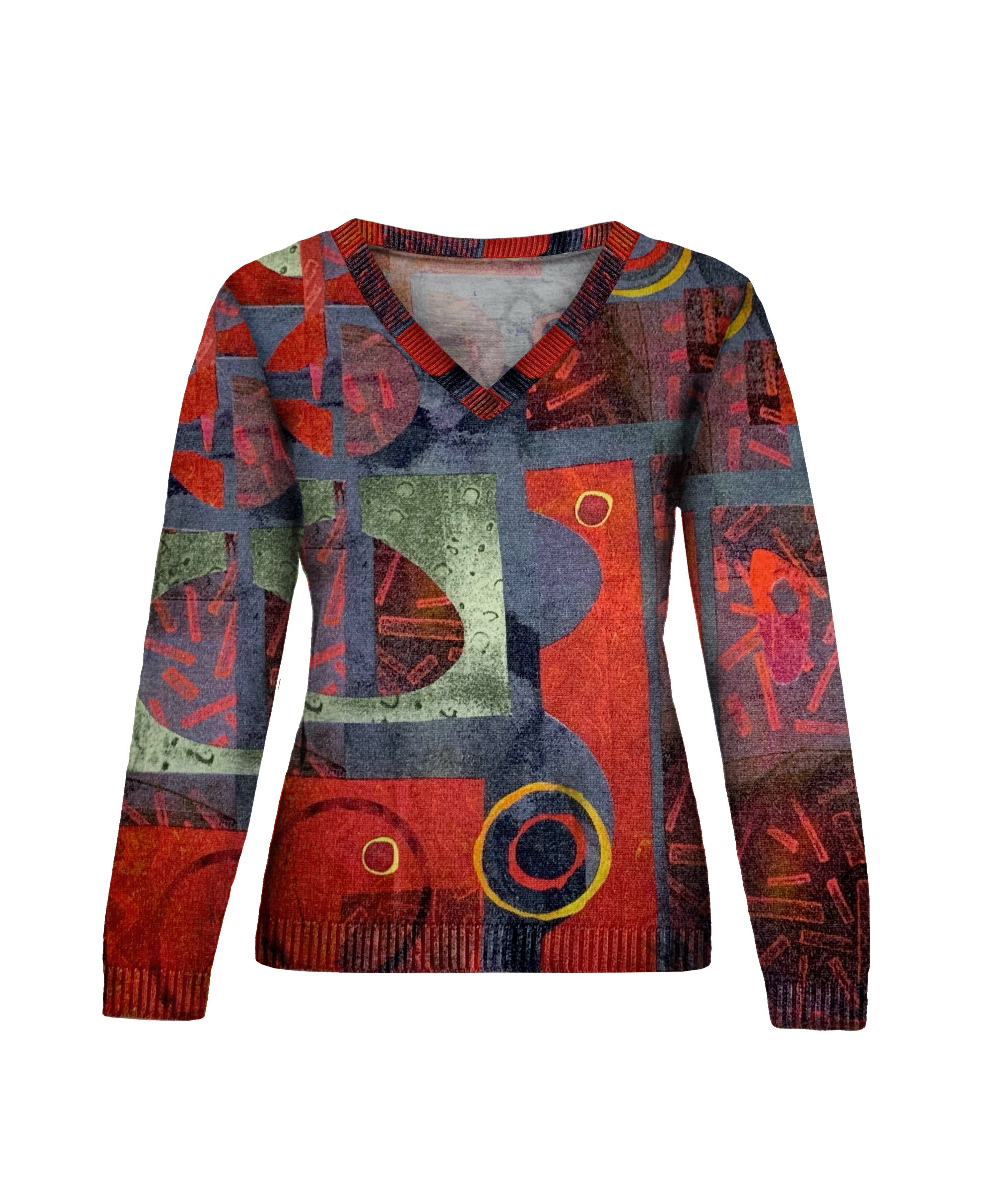 Simply Art Dolcezza: Expression of Color Yellow Dot Abstract Art Sweater SOLD OUT Dolcezza_Simply Art_59127_N