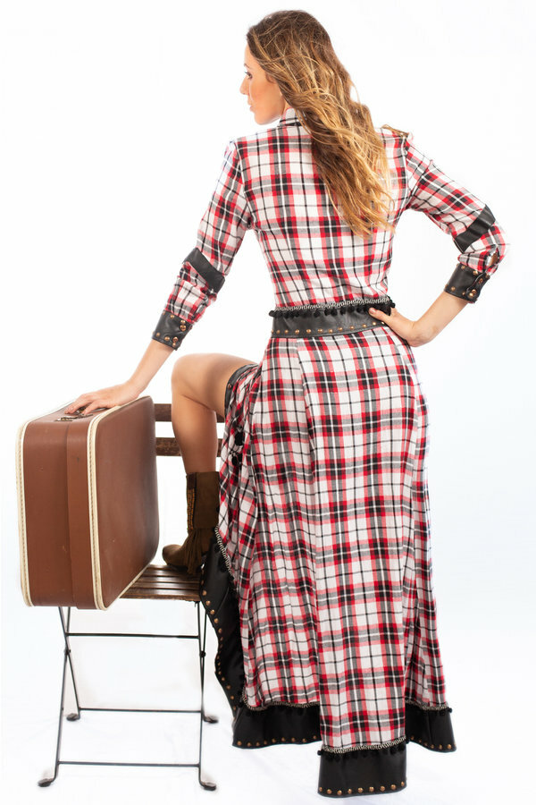Savage Culture: Checkered Vegan Leather Waist Moto Dress