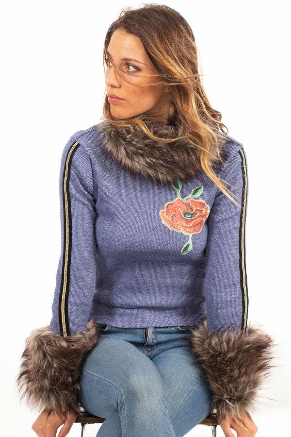 Savage Culture: Orange Rose Blue Jeans Knit Faux Fur Sweater SAVAGE_37141_N2
