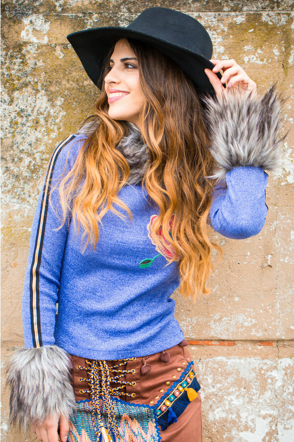 Savage Culture: Orange Rose Blue Jeans Knit Faux Fur Sweater