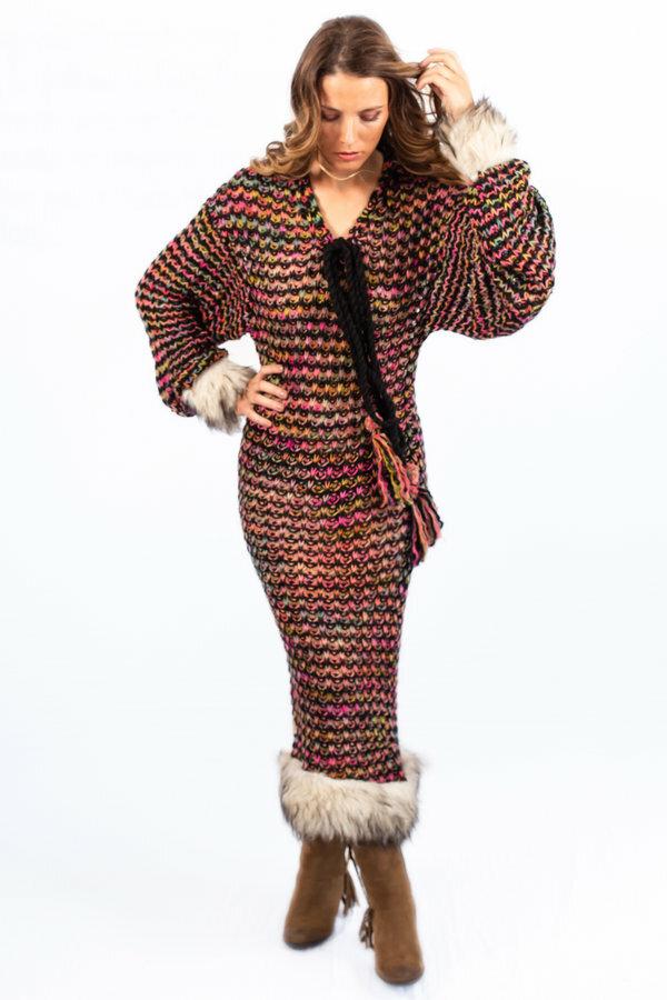 Savage Culture: Pom Pom Faux Fur Sweater Dress SAVAGE_37005