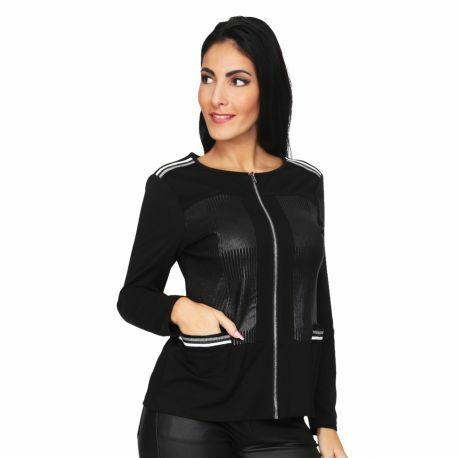S'Quise Paris: Side Pocket Faux Leather Zip Top SQ_2511