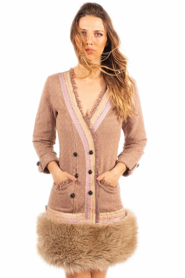 Savage Culture: Zigzag Knit Faux Fur Dress SAVAGE_37054