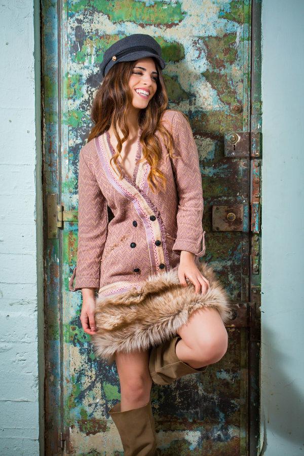 Savage Culture: Zigzag Knit Faux Fur Dress
