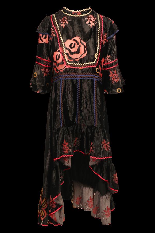 Savage Culture: Pink Orange Rose Velvet High Low Dress