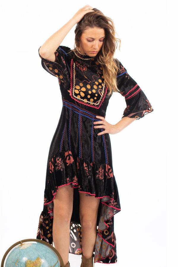Savage Culture: Pink Orange Rose Velvet High Low Dress SAVAGE_37112
