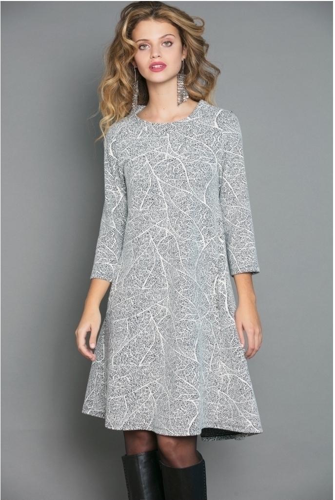 Maloka: Fit & Flow Romantic Lightstorm Jacquard Dress (Few Left in Black/Platinum!) MK_FURLAN_N