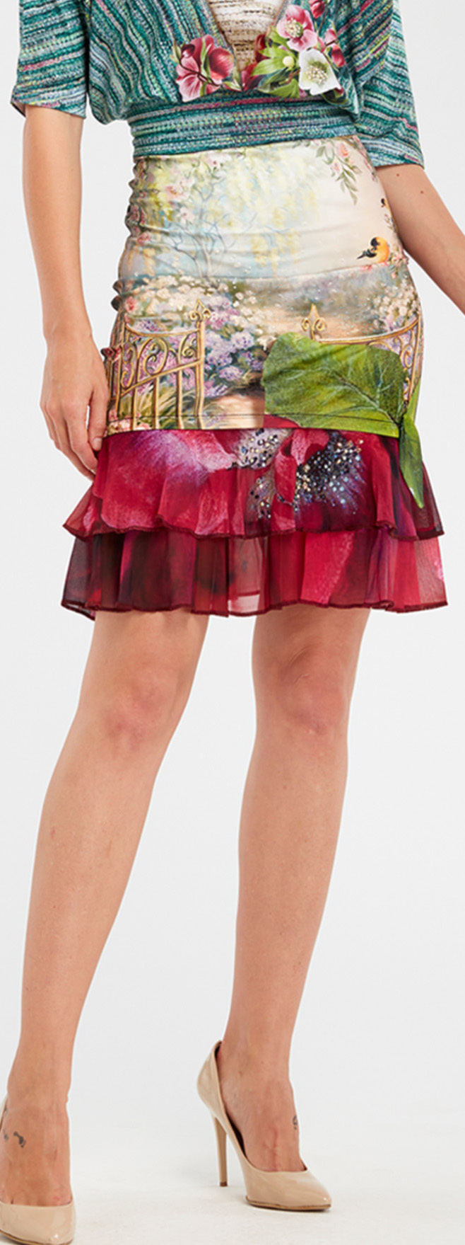 IPNG: Cherry Carnation Lace 3D Illusion Fit & Flare Mini Skirt IPNG_IPSKM-072_N