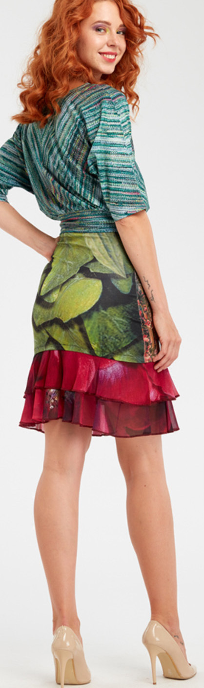 IPNG: Cherry Carnation Lace 3D Illusion Fit & Flare Mini Skirt