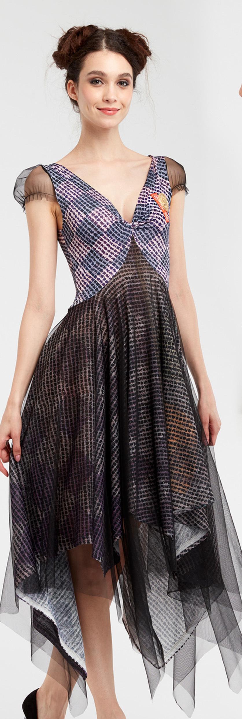 IPNG: Royal Summer Stamp Four Corners Sweetheart Midi Dress