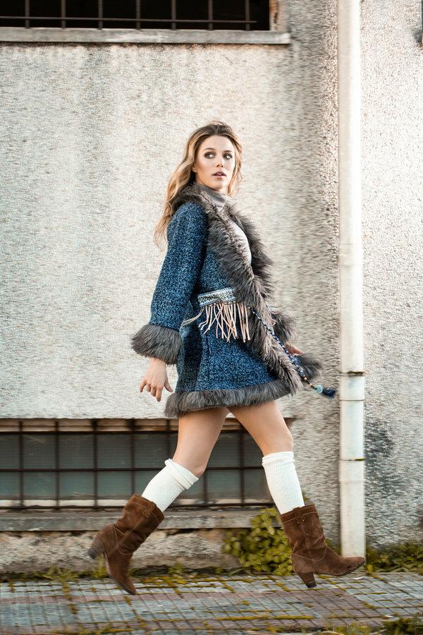 Savage Culture: Blue Diamond Faux Fur Sweater Coat