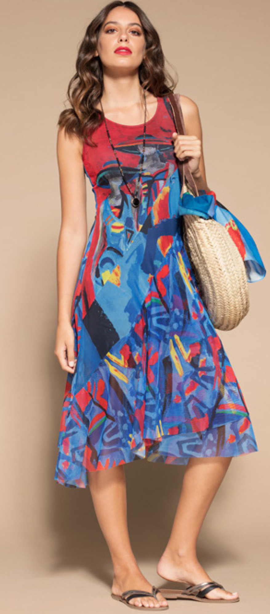 Maloka: Colors Of Picasso's Gypsy Beauty Abstract Art Midi Sundress MK_GAUDI_N3
