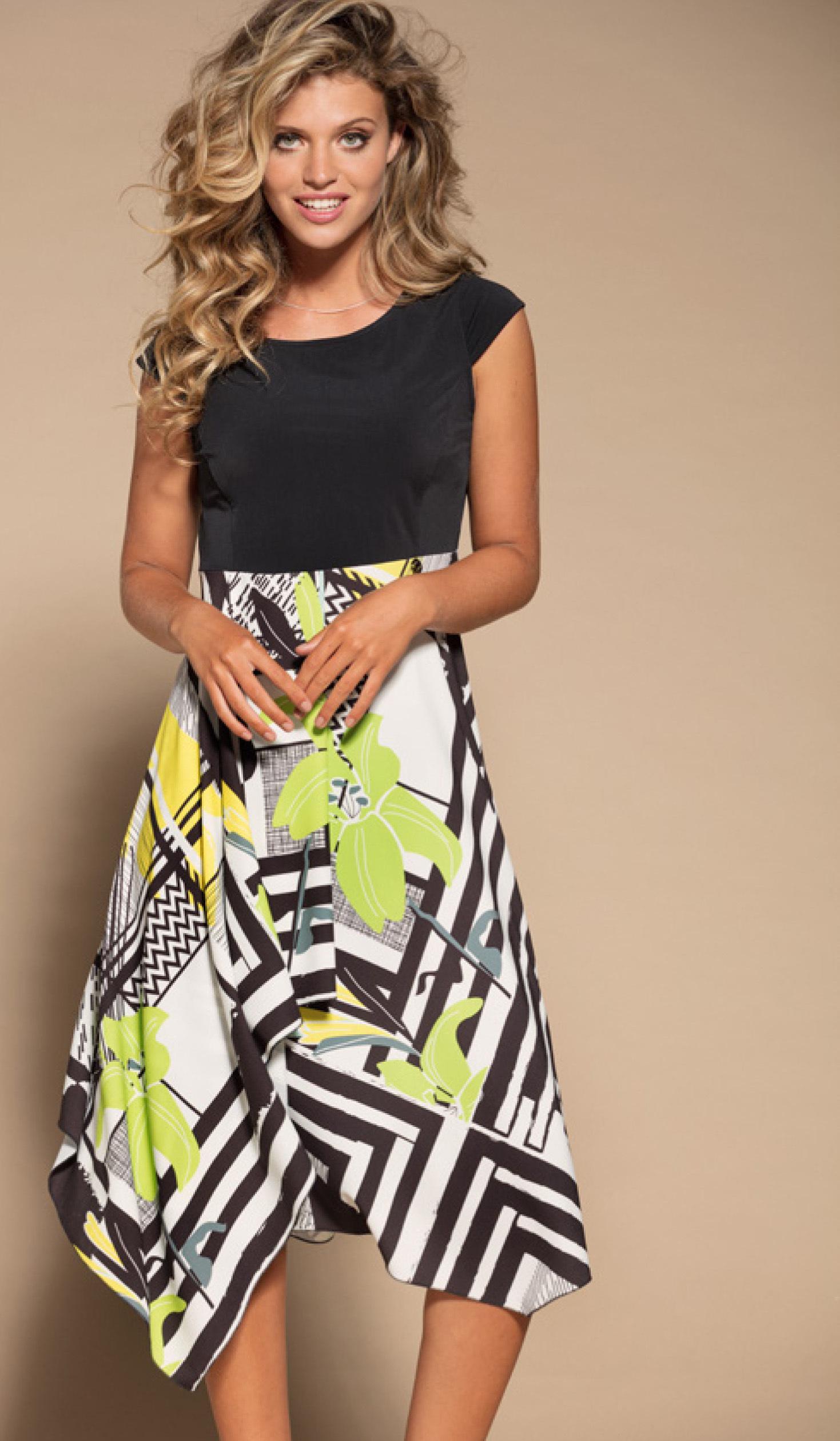 Maloka: Lemon Lime Marble High Waisted Asymmetrical Midi dress MK_NELY_N3