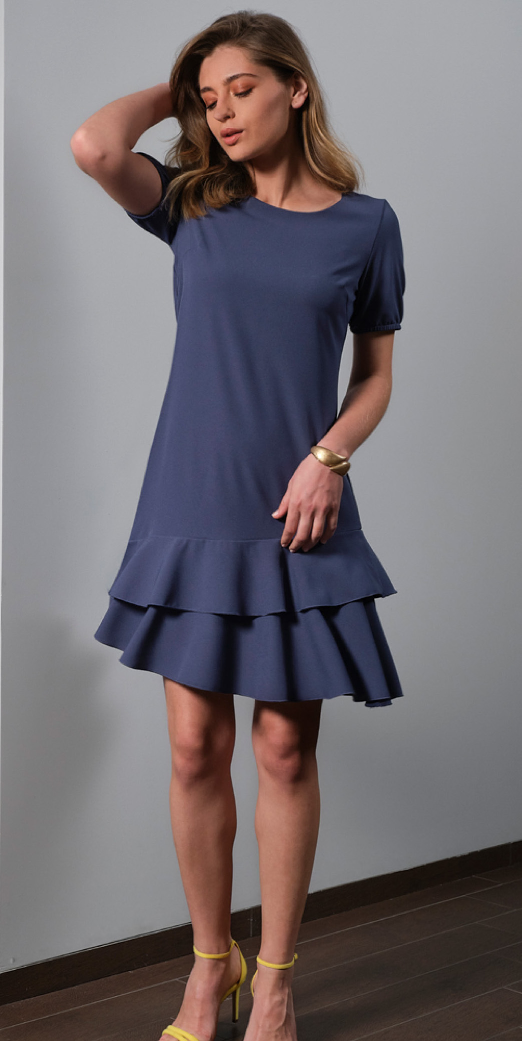 Paul Brial: Sexy Double Ruffle Trouble Asymmetrical Midi Dress (Few Left!) PB_CAROLINE_N1