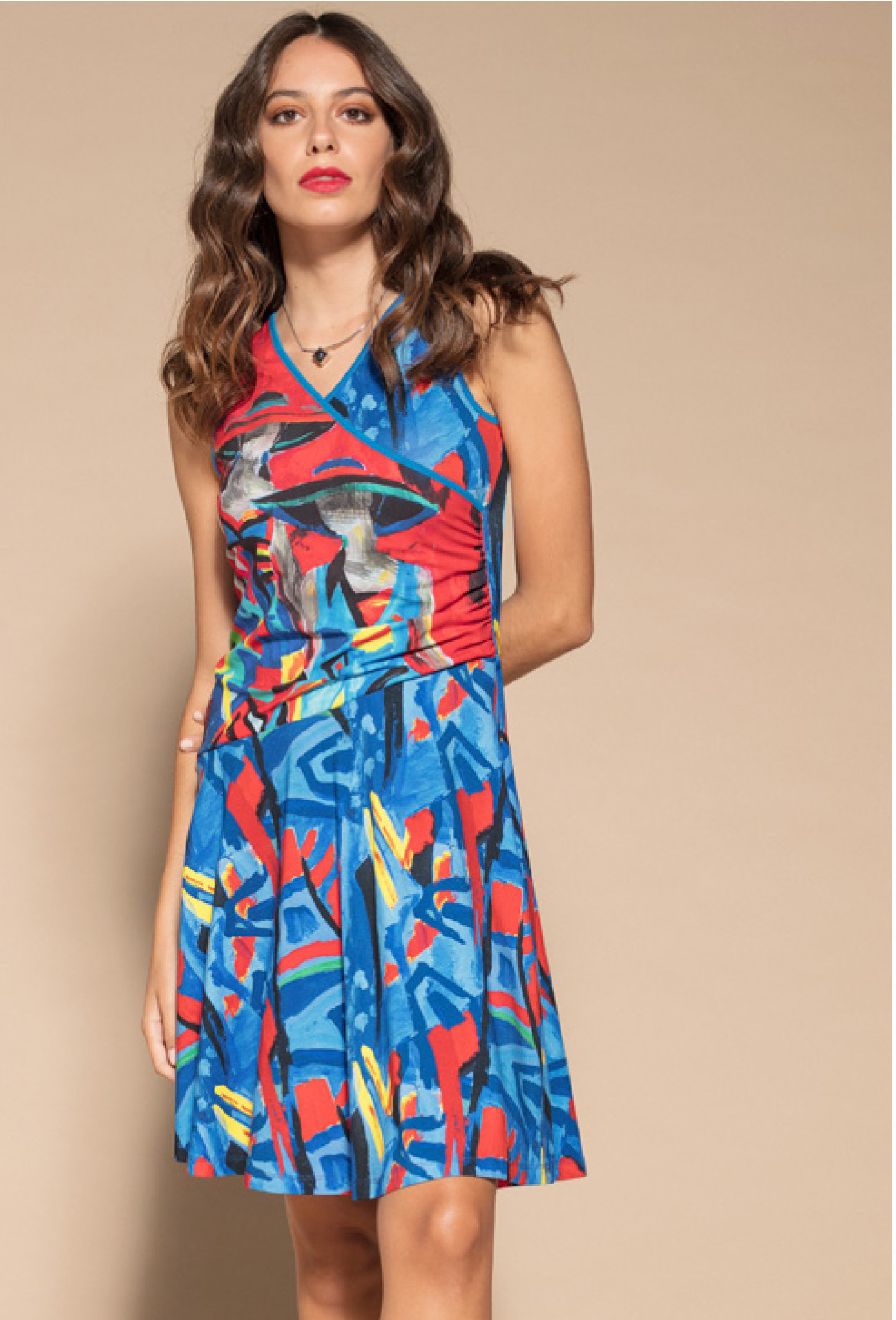 Maloka: Colors Of Picasso's Gypsy Beauty Abstract Art Crossover Dress MK_GIULLIA_N3