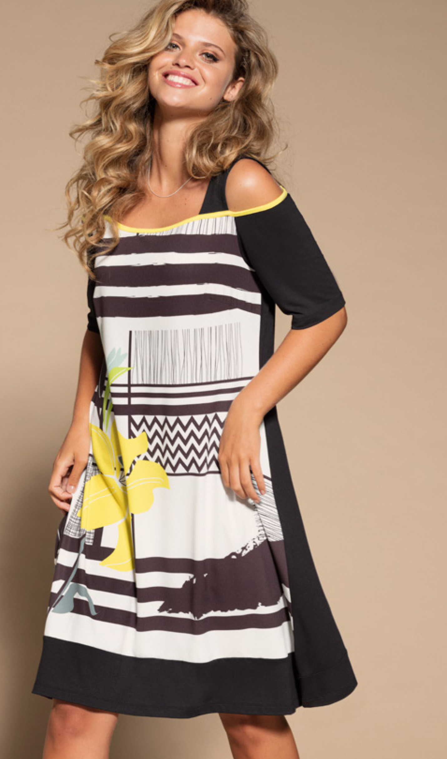 Maloka: Lemon Lime Marble Cold Shoulder Dress/Tunic (2 Left!) MK_NAEMI_N1