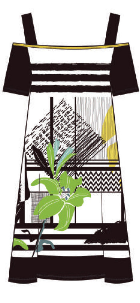 Maloka: Lemon Lime Marble Cold Shoulder Dress/Tunic (2 Left!)