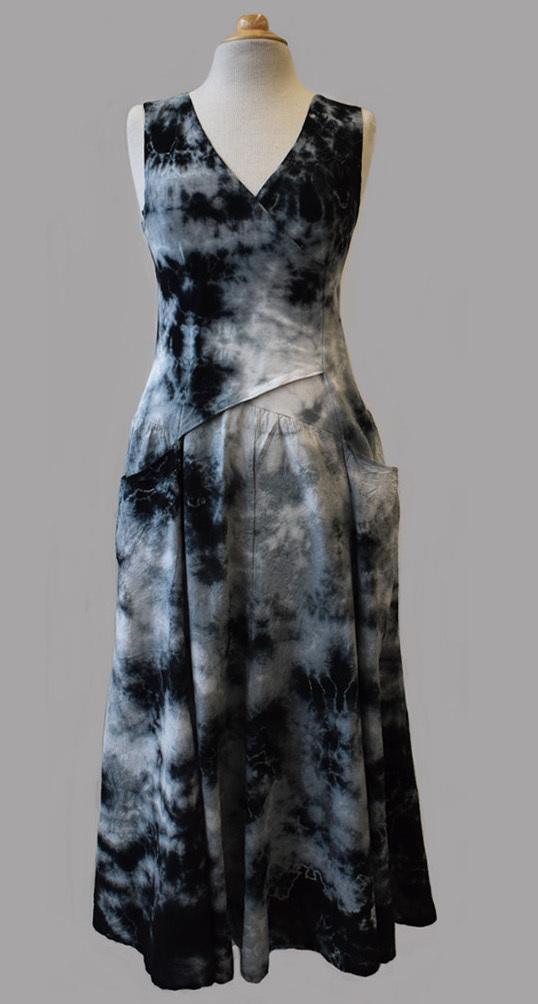 Luna Luz: Cross Over Botanical Bodice Tie Dye Long Dress (Ships Immed, Few Left!) LL_516_BLACK_BOTANICAL_N1