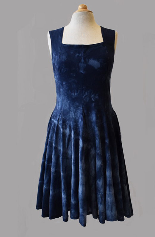 Luna Luz: Square Neck Godet Dyed Tank Dress (Ships Immed in Navy Shoreline, 1 Left!) LL_B5533T_Navy_Shoreline