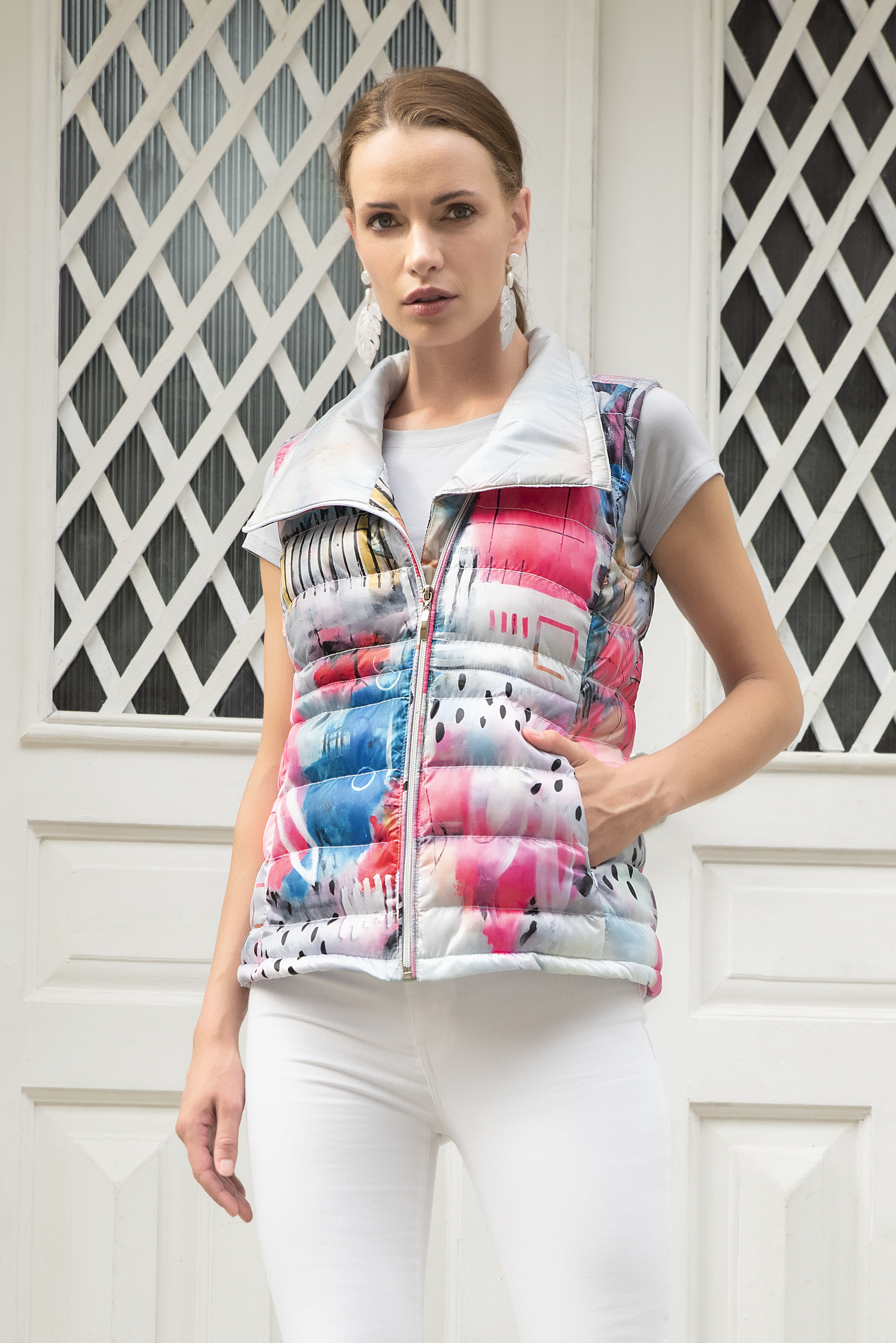 Simply Art Dolcezza: Receive The Best Things In Life Abstract Art Puffer Vest DOLCEZZA_SIMPLYART_20803_N