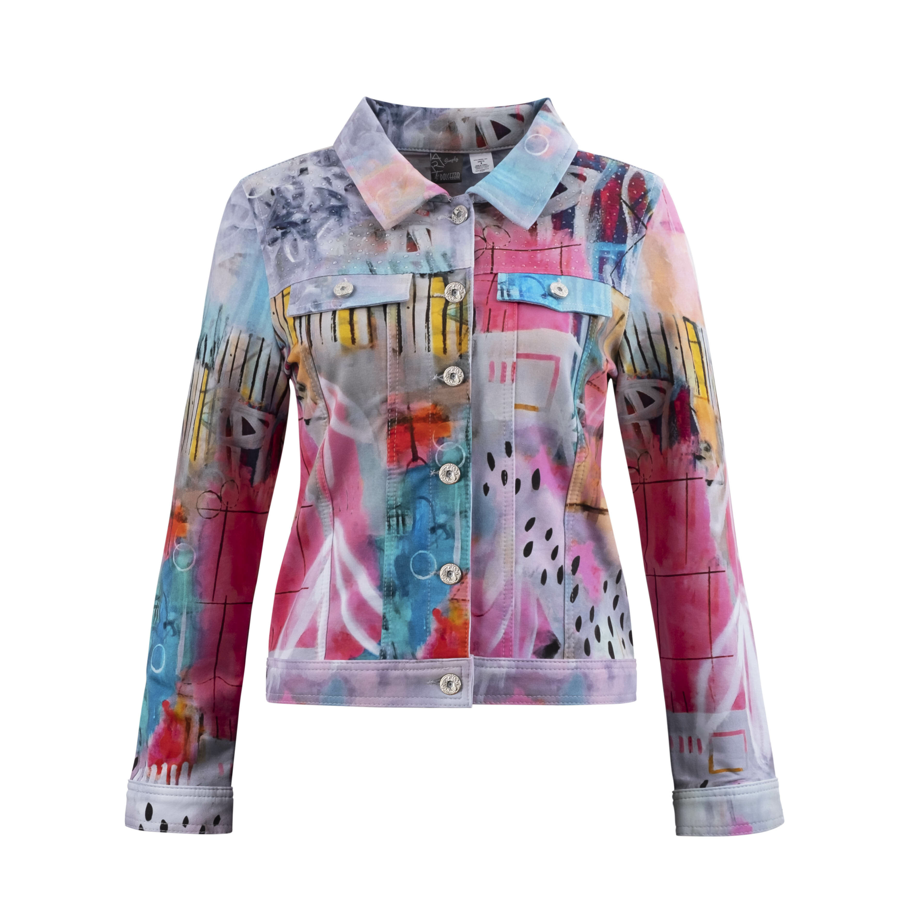 Simply Art Dolcezza: Receive The Best Things In Life Abstract Art Denim Jacket (3 Left!) DOLCEZZA_SIMPLYART_20679_N1