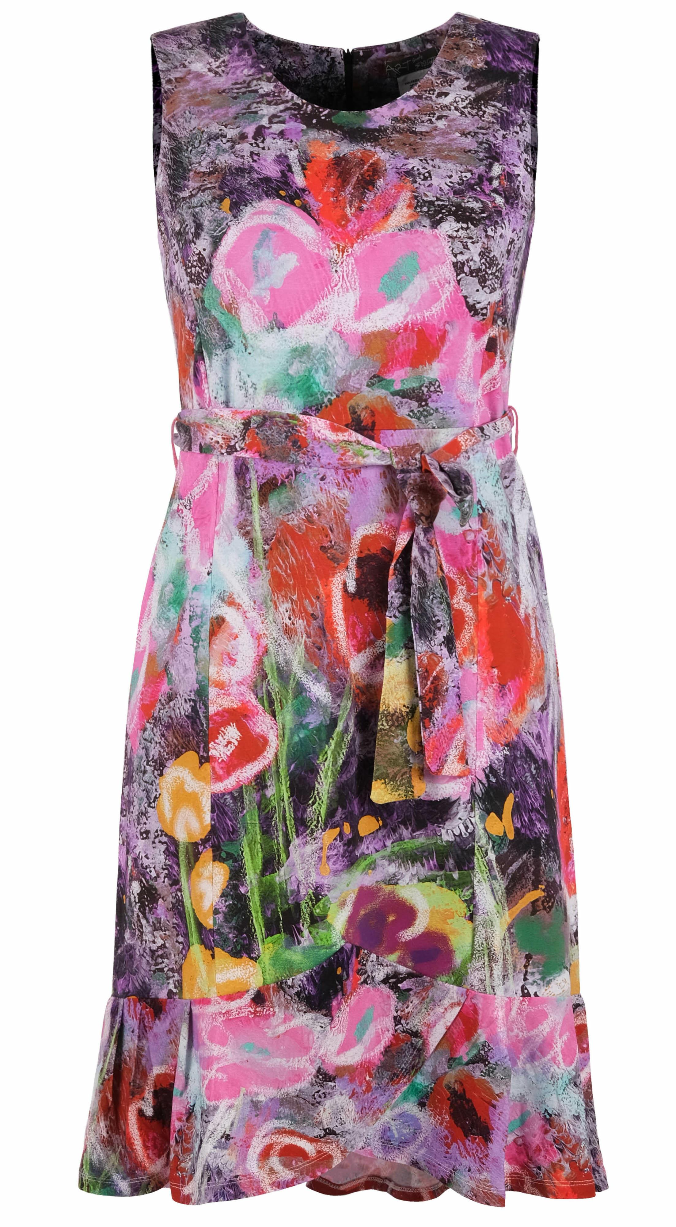 Simply Art Dolcezza: Wildest Flowers Tulip Hem Abstract Art Dress DOLCEZZA_SIMPLYART_20607_N