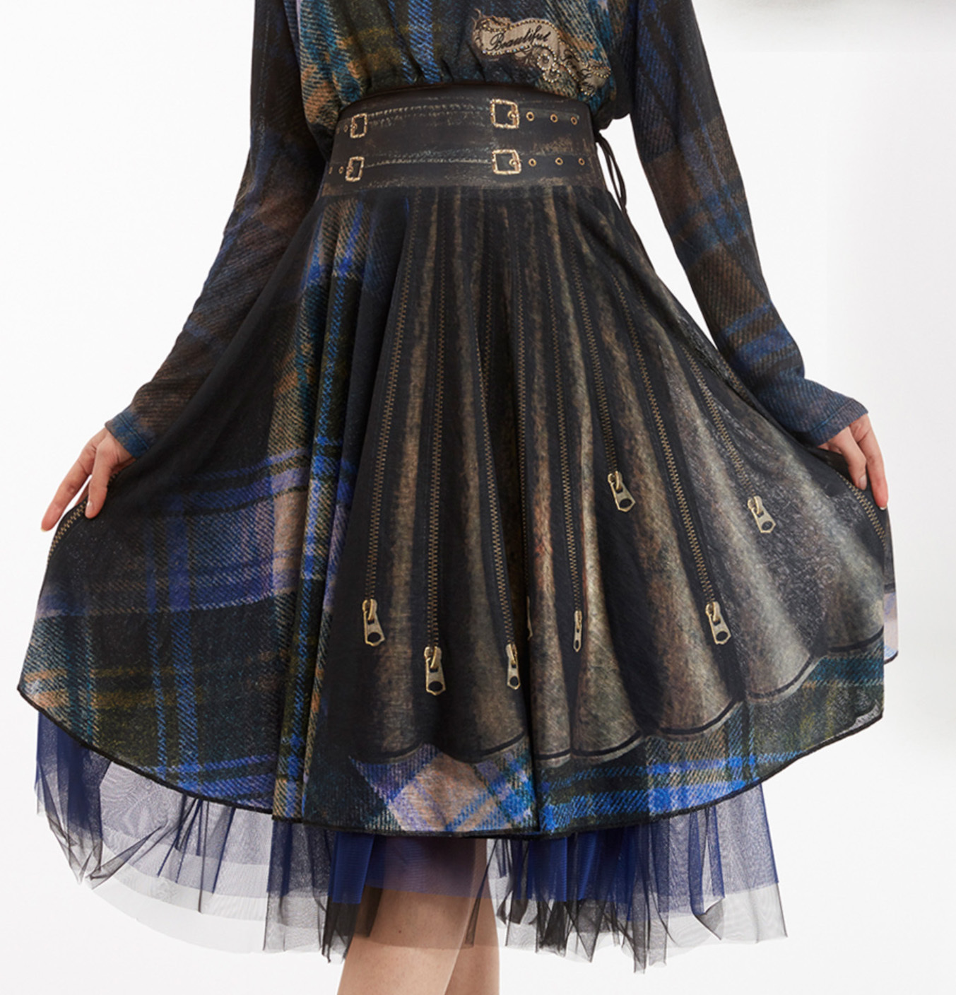 IPNG: Biker Chic Let It Snow Plaid Illusion Four Corners Skirt (Some Ship Immed!) IPNG_LISSKS-006_N