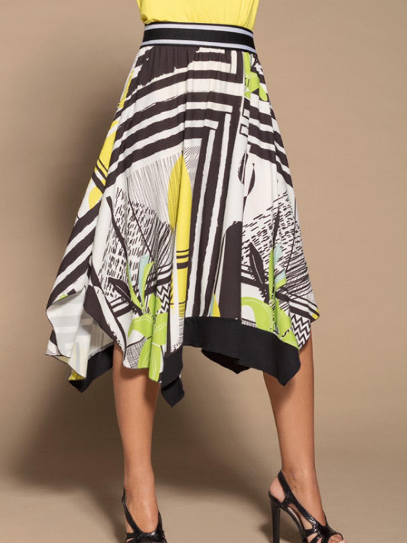 Maloka: Lemon Lime Marble High Waisted Asymmetrical Midi Skirt MK_NADEEN_N