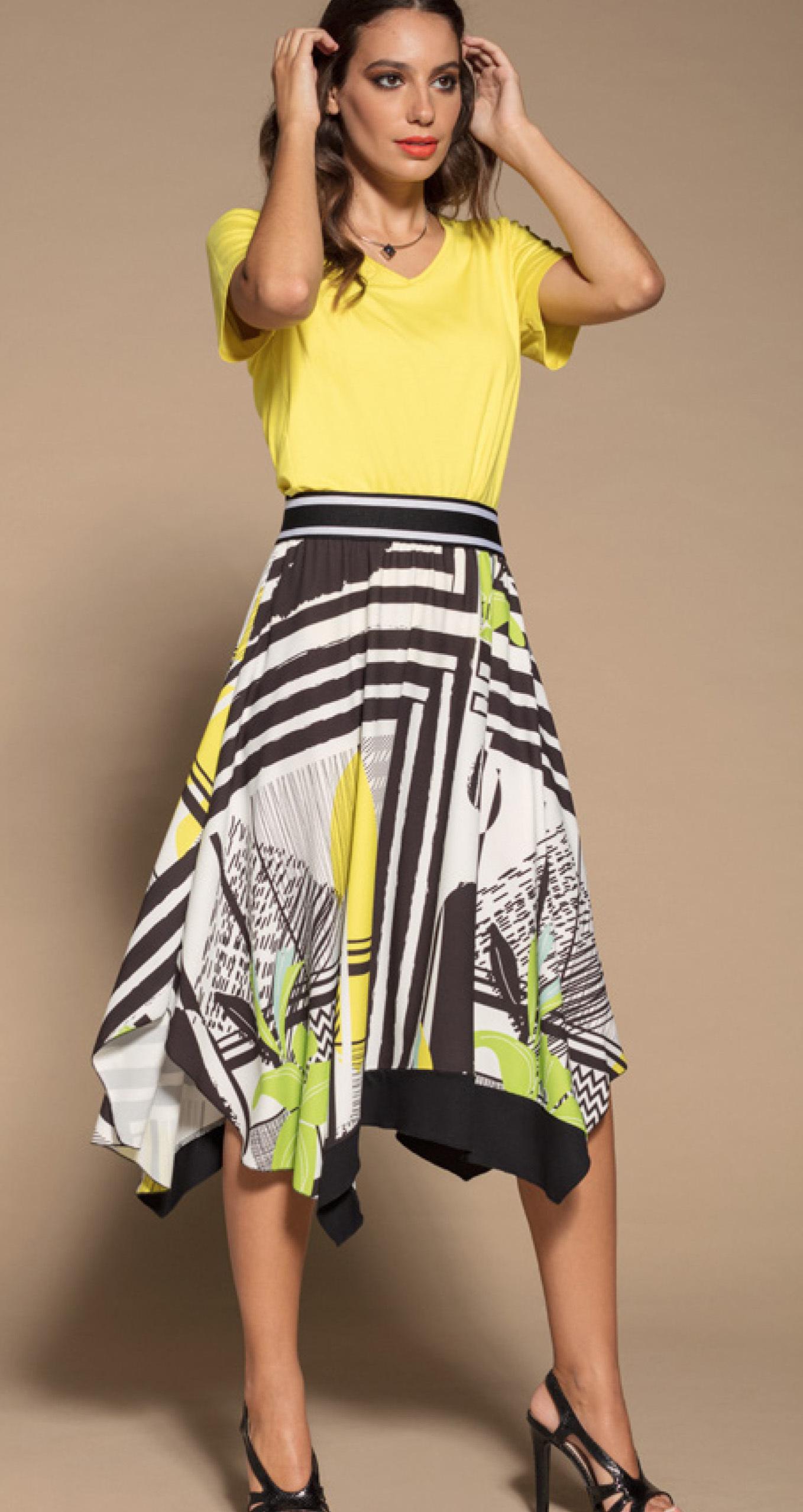 Maloka: Lemon Lime Marble High Waisted Asymmetrical Midi Skirt