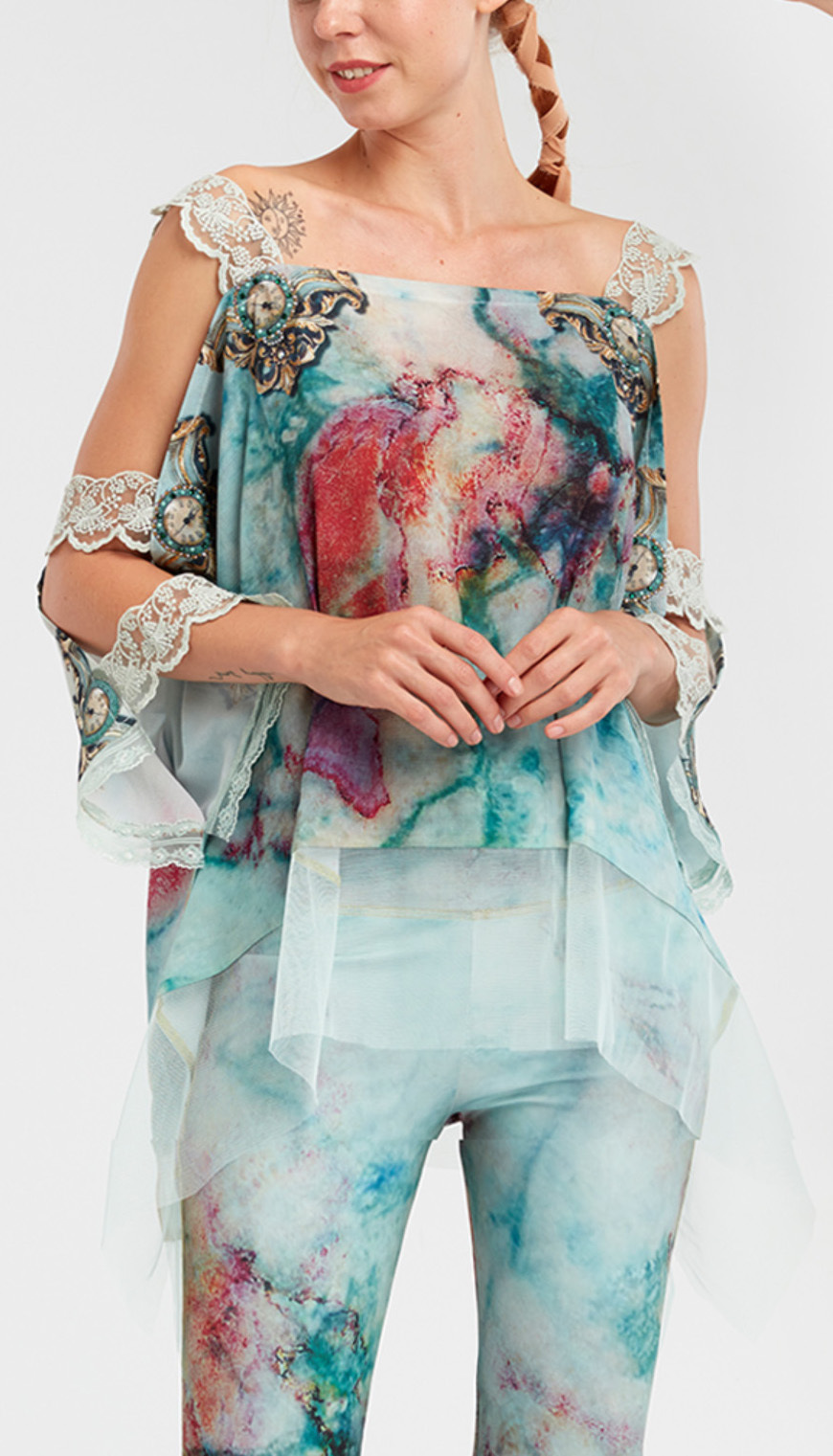 IPNG: Inna Me Rose Reflection Illusion Shawl Blouse Tunic (Ships Immed, 1 Left!) TIMSB-044_N1