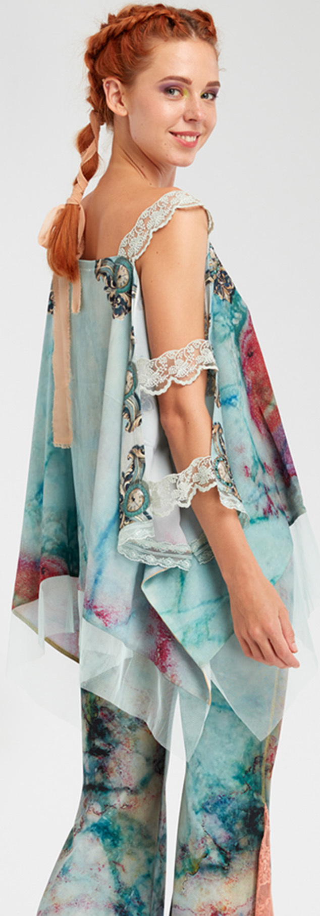 IPNG: Inna Me Rose Reflection Illusion Shawl Blouse Tunic (Ships Immed, 1 Left!)