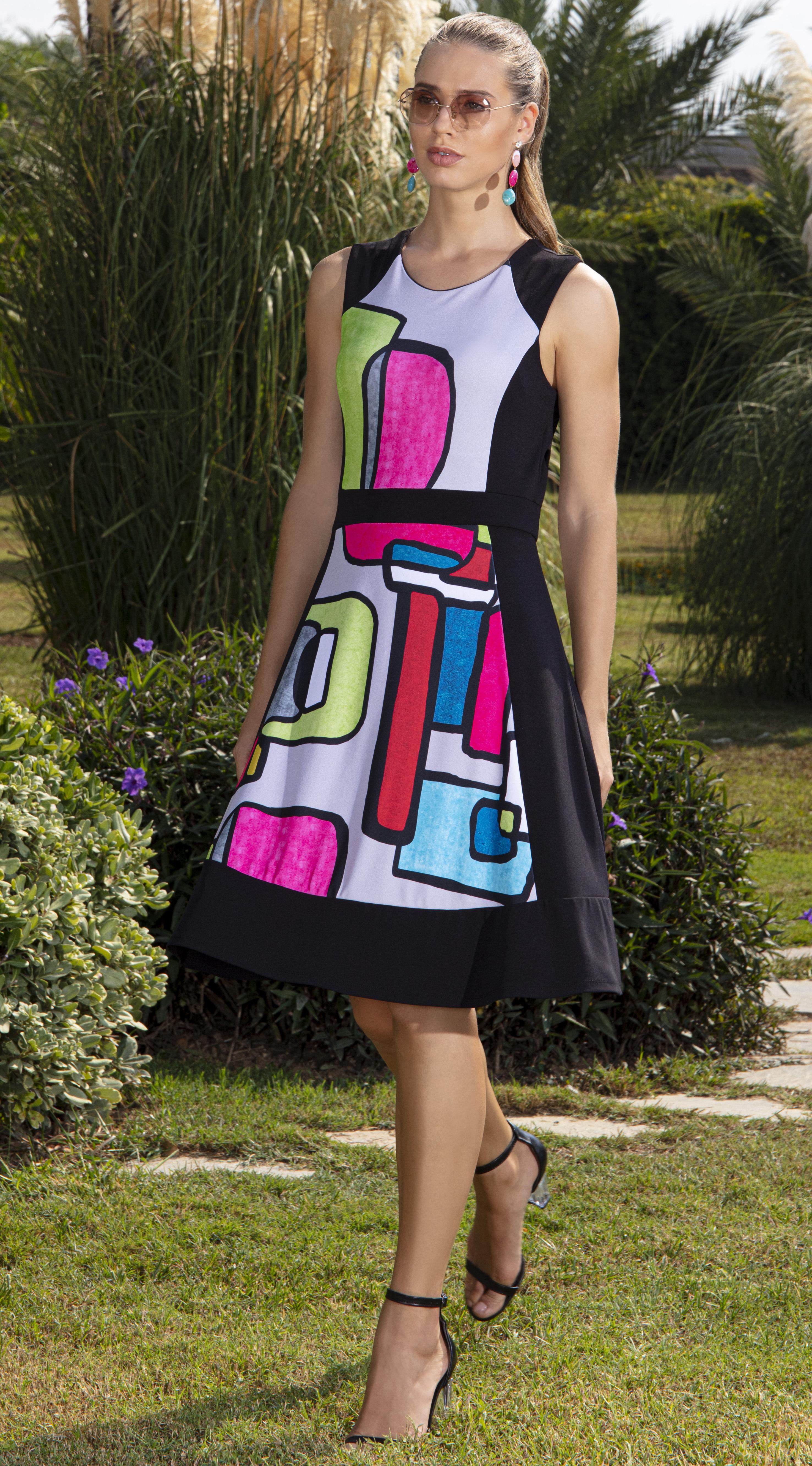 Simply Art Dolcezza: Mid Century Vibrant Romance Abstract Art Dress (Few Left!) DOLCEZZA_SIMPLYART_20636_N1