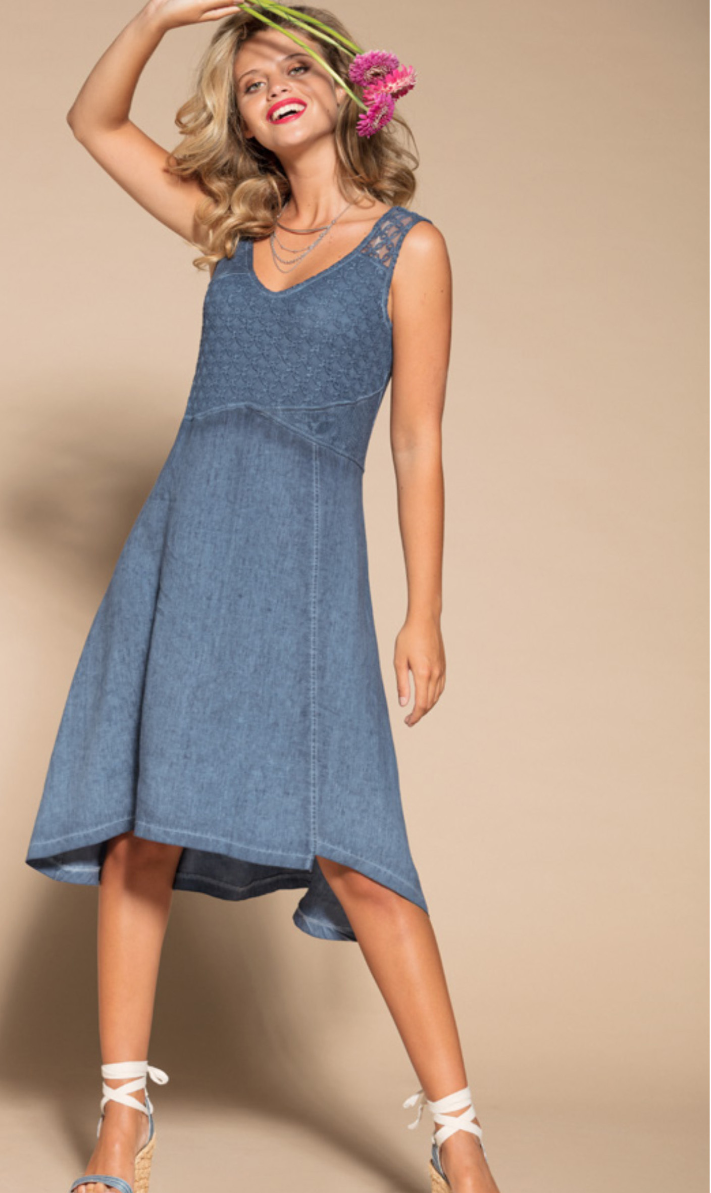 Maloka: Azul Brushed Cotton High Waisted Midi Dress MK_TEDDIE_AZUL