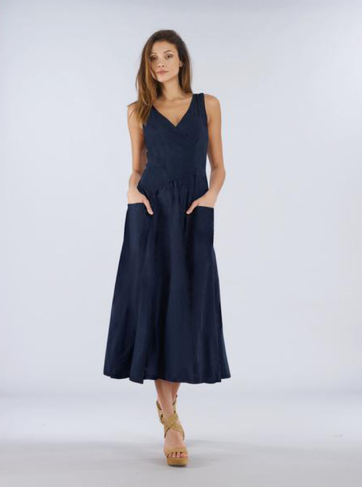 Luna Luz: Cross Over Bodice Long Dress SOLD OUT LL_516_N6