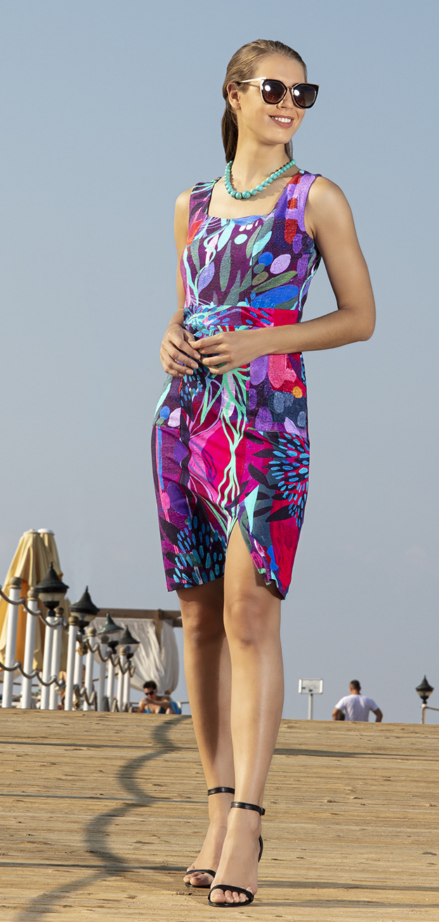 Simply Art Dolcezza: Color & Joy Tangle Of Leaves Abstract Art Midi Dress (Few Left!) Dolcezza_SimplyArt_20704_N1