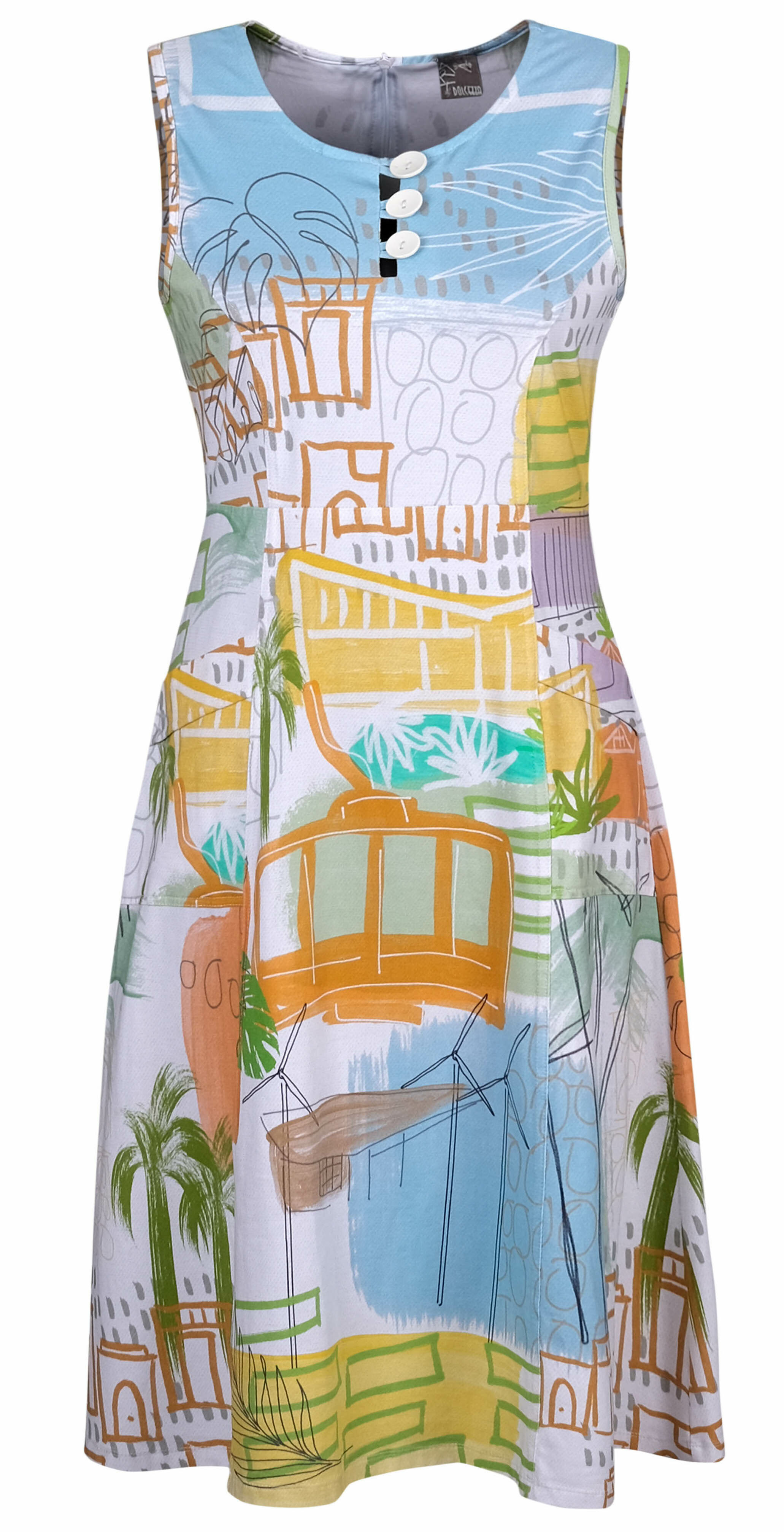 Simply Art Dolcezza: Palm Springs Cityscape Abstract Art Dress (1 Left!)